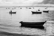 Black And White Photo, Fisherm...