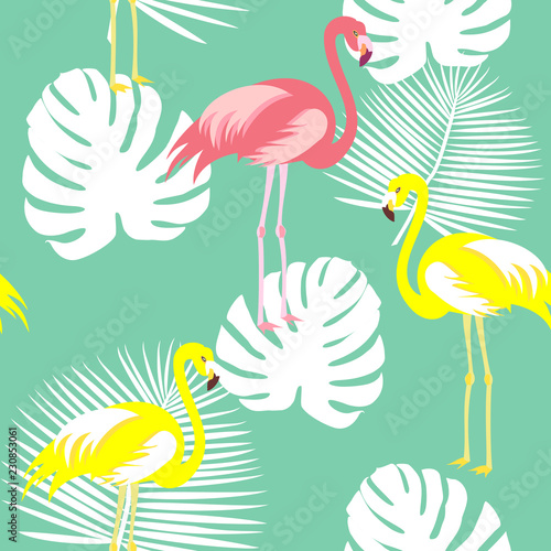 Beautiful seamless vector floral summer pattern background with tropical palm leaves, flamingo, hibiscus. Perfect for wallpapers, web page backgrounds, surface textures, textile. © yulyyulia