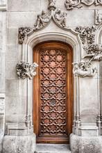 Architecture Detail Of The Door In Barcelona