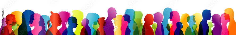 Fototapety, obrazy: Group of people talking. Crowd talking. Speak. To communicate. Colored silhouette profiles