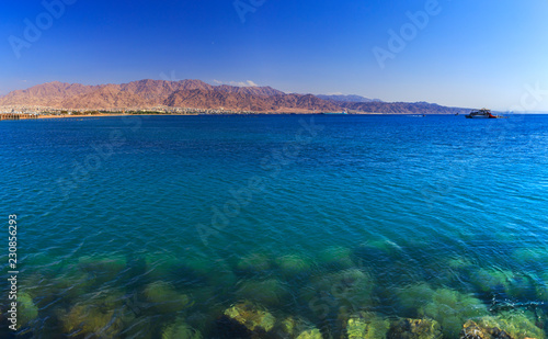 The city of Aqaba in Jordan and the Gulf of Aqaba of the Red Sea