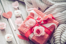 Beautiful Red Gift Box On Wood...