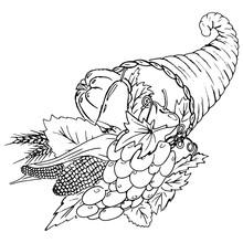 Vector Illustration Cornucopia. Symbol Thanksgiving. Hand Drawn Set Of Fruits And Vegetables.