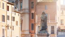The Bronze Statue Of Giordano Bruno In Rome