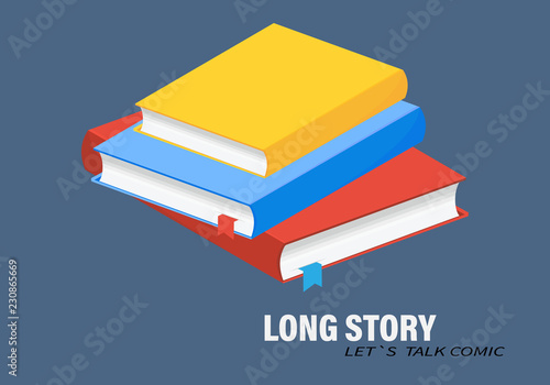 Fototapeta Isometric book icon in flat style.Horizontal stack of colored books in isometric.education infographic template design with books pile.Set of book icons in flat design style.  obraz