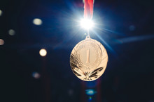 Sport Winner Gold Medal First Place In Competitions Dark Background