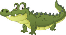 Cartoon Cute Crocodile. Vector Illustration Of Funny Happy Alligator.