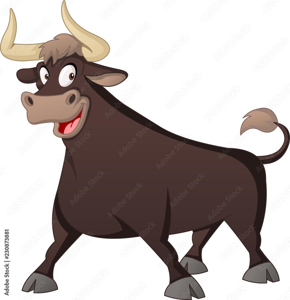 Fototapeta Cartoon cute bull. Vector illustration of funny happy animal.