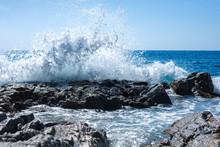 Wave Crashing Against A Rock. Lloret De Mar. Spain