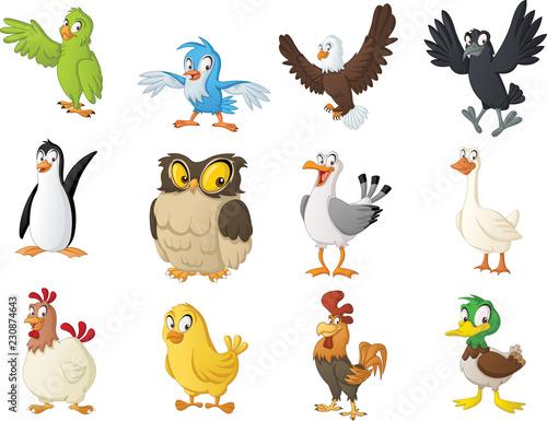 Photographie Group of cartoon birds