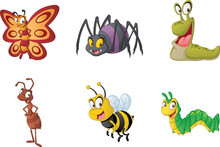 Group Of Cartoon Insects. Vect...