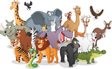 Group Of Cartoon Animals. Vect...