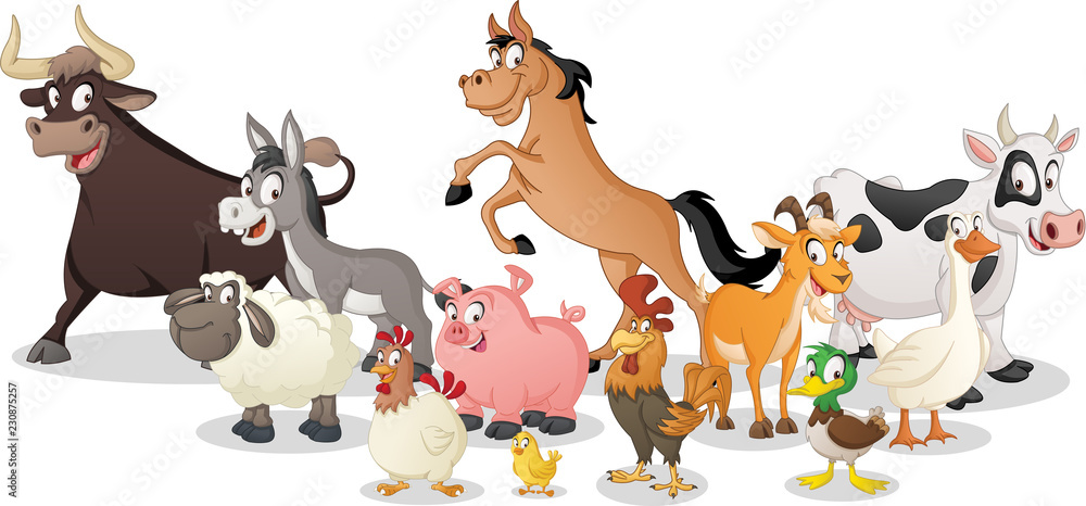 Fototapeta Group of farm cartoon animals. Vector illustration of funny happy animals.