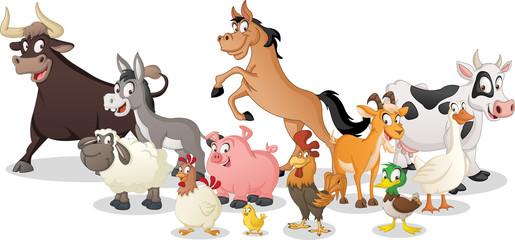 Group of farm cartoon animals. Vector illustration of funny happy animals.