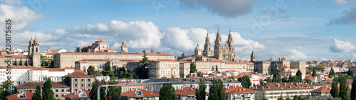 Santiago de Compostela wide panoramic view in Galicia, Spain and the amazing Cathedral with the new restored facade. High resolution