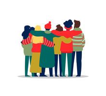 Young People Friend Group Hug In Winter Season