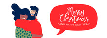 Christmas And New Year Best Friends Hug Web Banner