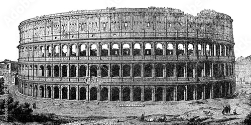 Vászonkép An engraved illustration of Coliseum from a vintage book Encyklopedya Powszechna