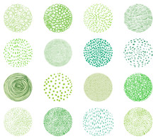 Green Natural Textures In Round Shapes. Doodle Circles For Package Design For Natural Products