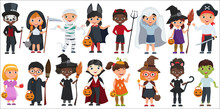 Cute Halloween Little Kids Set Vector Illustration.