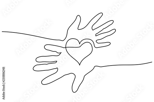 Fototapety, obrazy: Continuous one line drawing. Abstract hands woman and man holding heart. Vector illustration