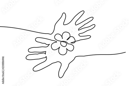 Fototapety, obrazy: Continuous one line drawing. Abstract hands holding flower. Vector illustration