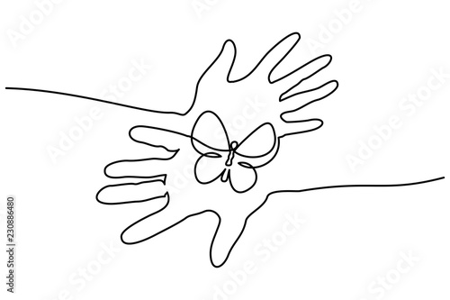 Fototapety, obrazy: Continuous one line drawing. Abstract hands holding butterfly. Vector illustration