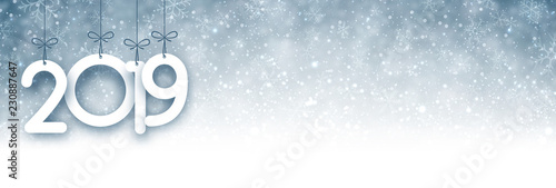 Fototapeta Grey 2019 New Year banner with snow. obraz