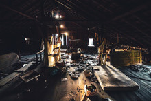 Creepy Abandoned Attic With Dirty Mattress