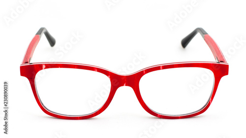 Fotografia Red eye glasses on white background
