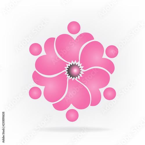 Aluminium Prints Ladybugs Logo teamwork flower shape vector
