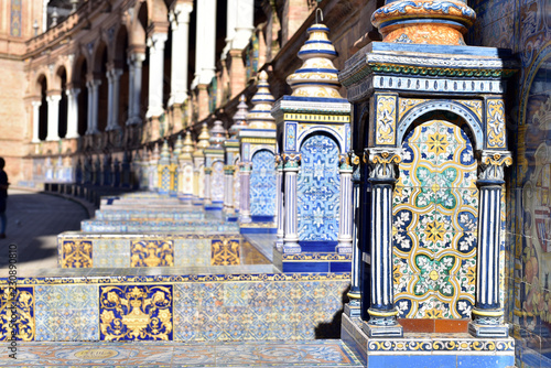 Poster Artistique Famous ceramic benches in Plaza de Espana, Seville, Spain