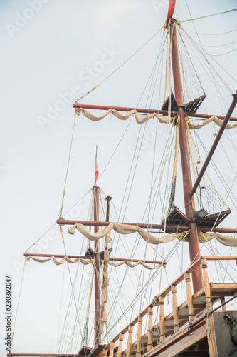 masts of an old sailing ship