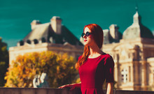 Style Redhead Girl In Glasses Near Luxembourg Palace In Paris