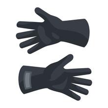 Black Protect Gloves Icon. Fla...