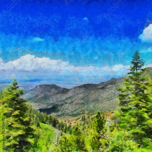Foto op Plexiglas Donkerblauw Hand drawing watercolor art on canvas. Artistic big print. Original modern painting. Acrylic dry brush background. Beautiful mountain landscape. Travel valley view. Exotic tropical resort. Wild nature