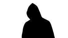 Spooky Silhouette In Hoodie Posing Before Camera, Terror And Criminal, Fear