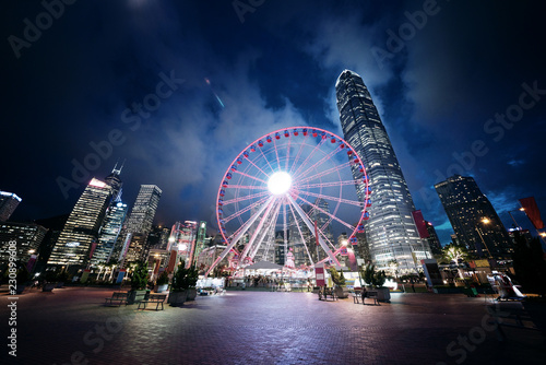Spoed Foto op Canvas Aziatische Plekken Observation Wheel, Hong Kong