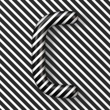 Black And White Stripes Letter C 3D