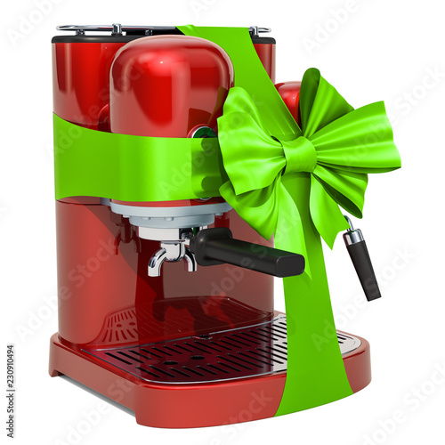 Red coffeemaker with green ribbon and bow. 3D rendering Fotobehang