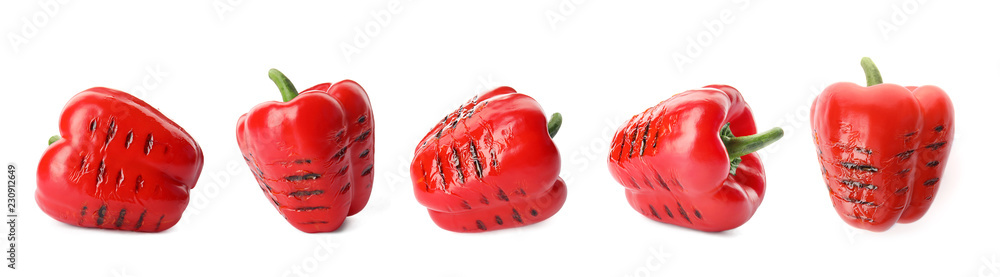 Fototapety, obrazy: Set of grilled red bell peppers on white background