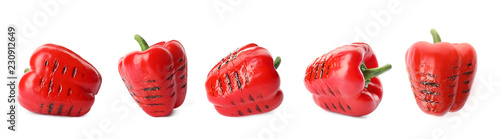 Fototapeta Set of grilled red bell peppers on white background obraz