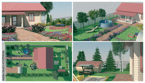 In de dag Olijf Design of the garden. A set of illustrations on the landscape design of the garden.