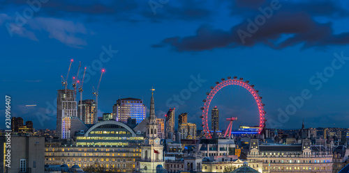 Canvas Print London skyline with London eye at night
