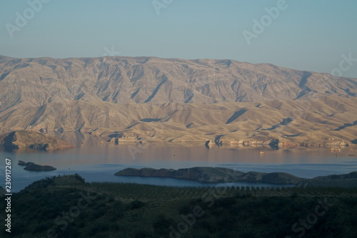Foto op Aluminium Donkergrijs Pamir, Pamir Mountains, Pyanzh River, snowy peaks, Asia, Badakhshan