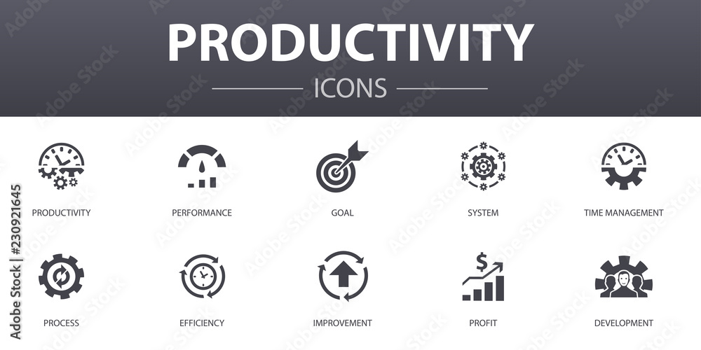 Fototapety, obrazy: Productivity simple concept icons set. Contains such icons as performance, goal, system, process and more, can be used for web, logo, UI/UX