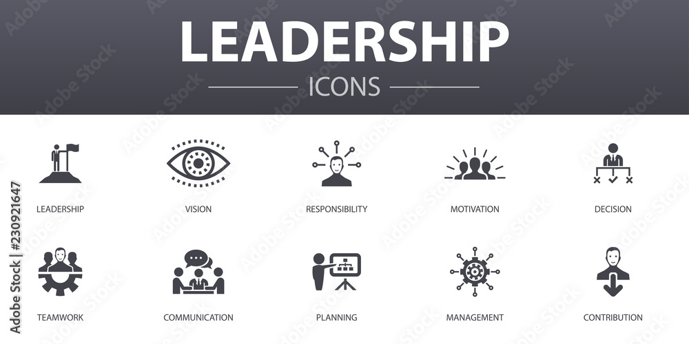 Fototapeta Leadership simple concept icons set. Contains such icons as responsibility, motivation, communication, teamwork and more, can be used for web, logo, UI/UX