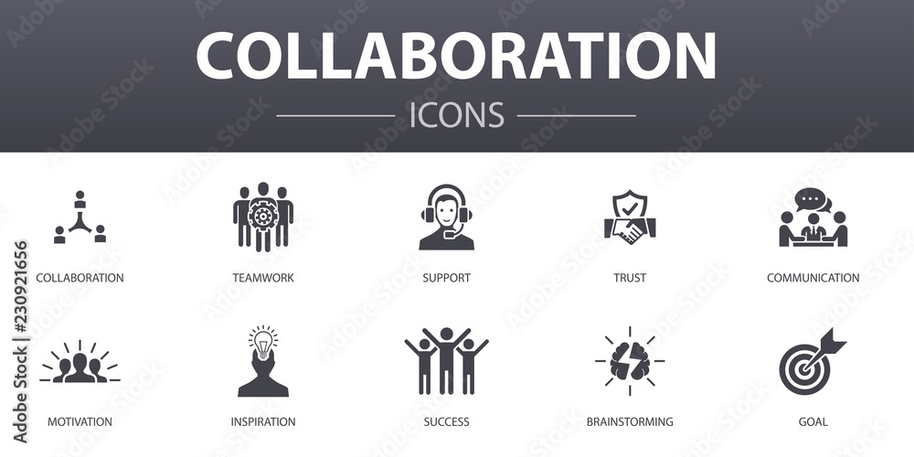 Fototapeta Сollaboration simple concept icons set. Contains such icons as teamwork, support, communication, motivation and more, can be used for web, logo, UI/UX