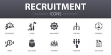 Recruitment Simple Concept Icons Set. Contains Such Icons As Career, Employment, Position, Experience And More, Can Be Used For Web, Logo, UI/UX