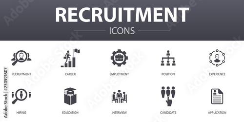 Fotografía recruitment simple concept icons set